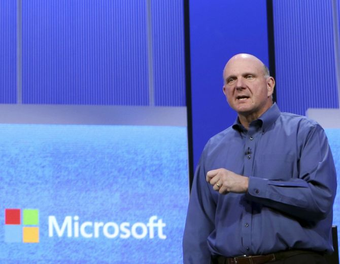 Microsoft's former CEO Steve Ballmer speaks during his keynote address at the Microsoft Build conference in San Francisco.