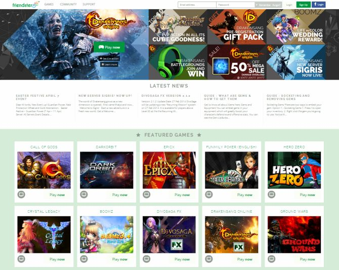 Screenshot of Friendster's homepage.