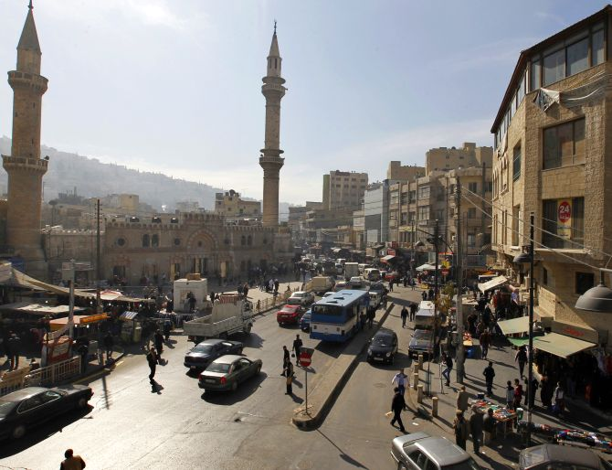 General view of the downtown area of the Jordanian capital near the Grand Husseini mosque in Amman.