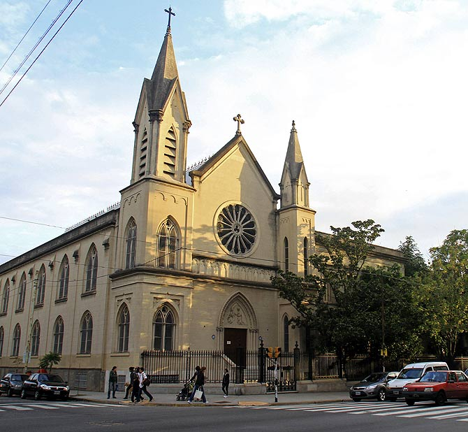 An exterior view of the Our Lady of Mercy Church.