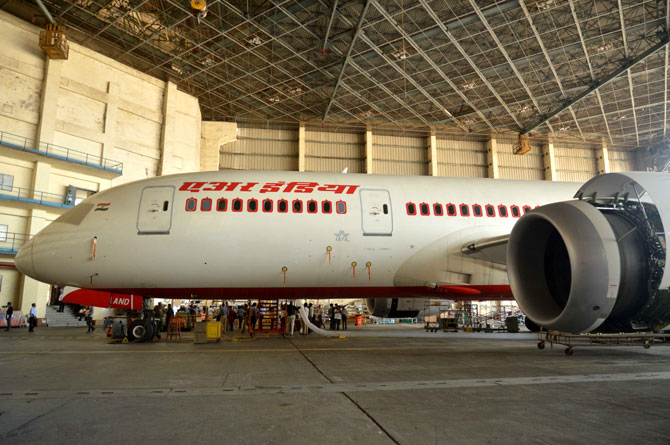 Air India Dreamliner in the Santacruz hanger.