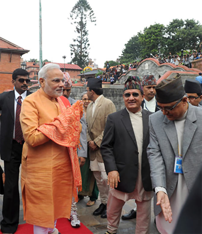 Narendra Modi offered prayers at the Pashupatinath Temple in Kathmandu, Nepal.