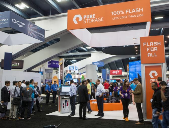 Pure Storage stall at the VMworld in Las Vegas.
