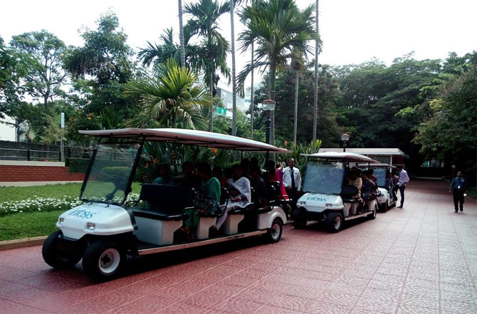A tour of the campus over a lazy golf cart ride at Infosys, Bangalore.