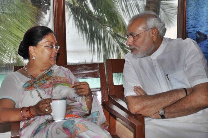Vasundhara Raje with Prime Minister Narendra Modi.