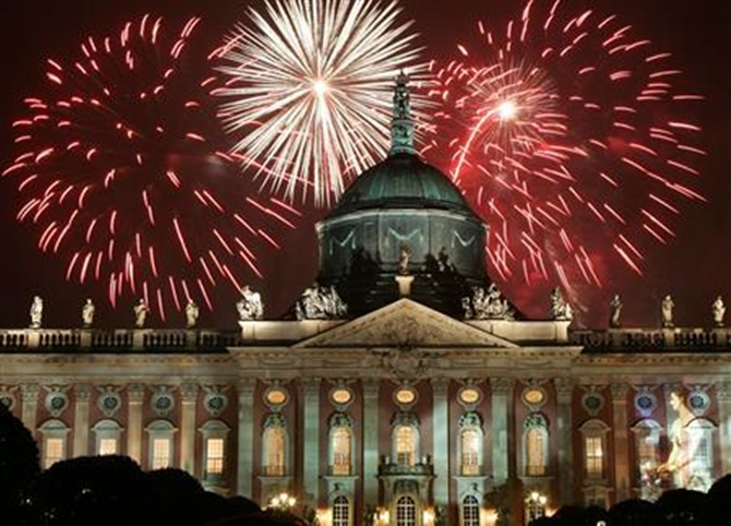 A fireworks display is seen over the Neues Palais (New Palace) during a music festival in the city of Potsdam, south of Berlin.
