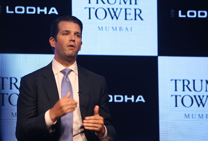 Donald Trump Jr speaks at the press conference in Mumbai.
