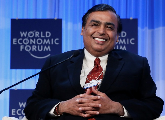 Chairman and Managing Director of Reliance Industries Mukesh Ambani attends the annual meeting of the World Economic Forum in Davos January 25, 2013.