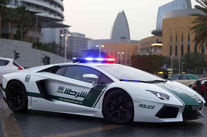 A Lamborghini Aventador, a model used by Dubai police, is seen on patrol in Dubai.