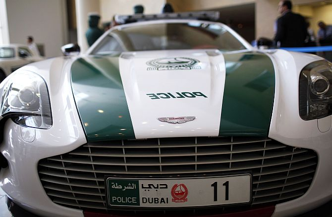 An Aston Martin car used by Dubai police.