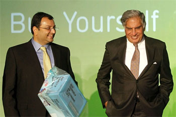 Tata Group Chairman Cyrus Mistry and Ratan Tata. Photograph: Vivek Prakash/Reuters