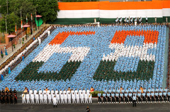Children stand in a formation at the historic Red Fort on the occasion of 68th Independence Day.