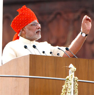 Narendra Modi addressing the Nation on the occasion of 68th Independence Day from the ramparts of Red Fort, in Delhi on August 15, 2014. Photograph: PIB