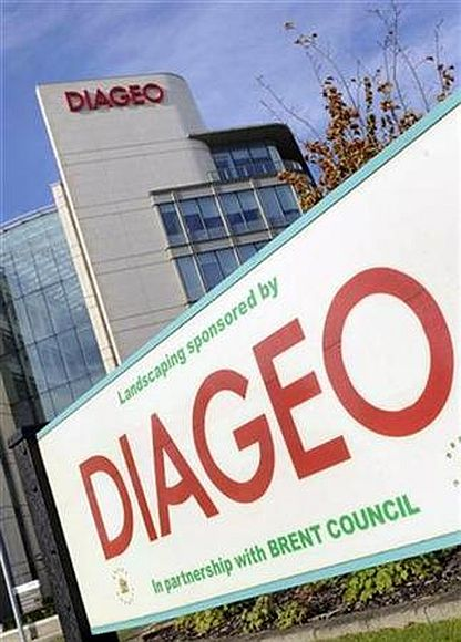 Signage is seen on the outside of Diageo offices in west London.