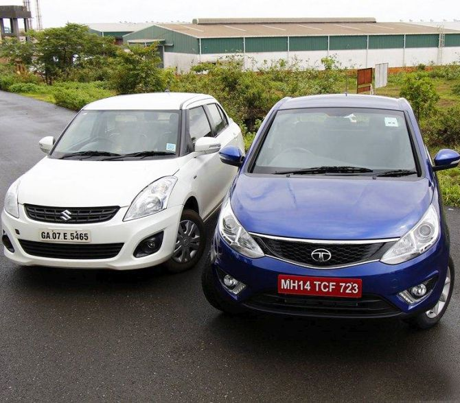 Maruti Dzire (L) and Tata Zest.