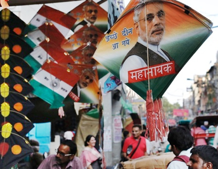 Kites carrying pictures of Prime Minister Narendra Modi.