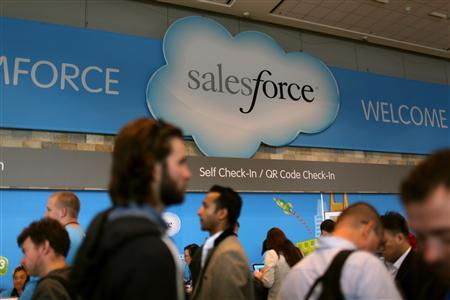 A Salesforce sign is seen as attendees make their way through Moscone Center during the company's annual Dreamforce event, in San Francisco, California.