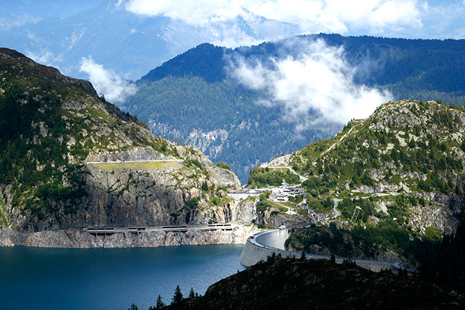 A general view of the Emosson dam is seen during a visit to the Nant de Drance hydropower plant near the village of Finhaut.