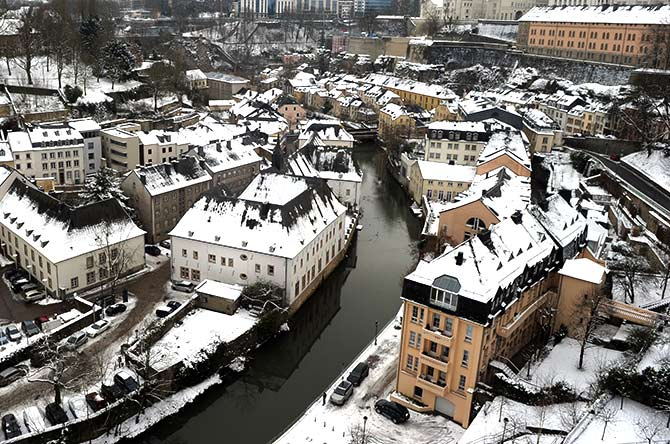 The Petrusse river is seen near old fortifications of the city of Luxembourg.