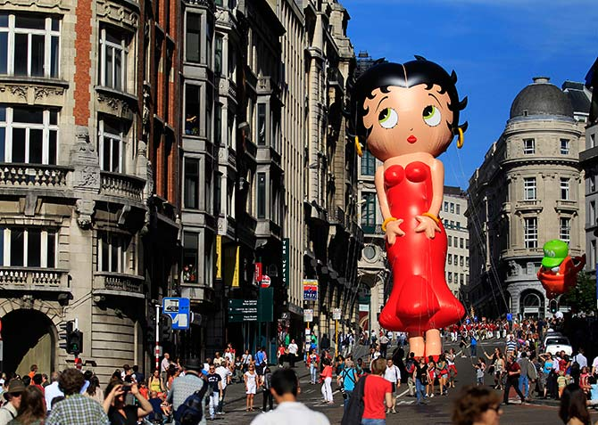 A giant balloon of Betty Boop floats during the Balloon Day Parade in central Brussels.