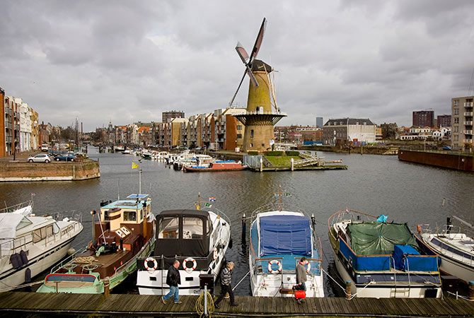 The Distilleerketel, a windmill built in 1727 and used to grind rye, can be seen at Delfshaven, an area of Rotterdam, the Netherlands