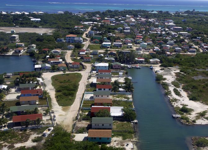 An aerial view of the city of San Pedro.