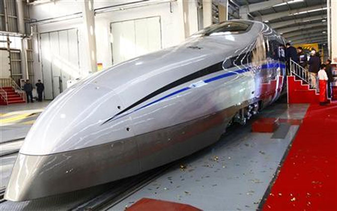 CSR high-speed bullet train. Photograph: Reuters