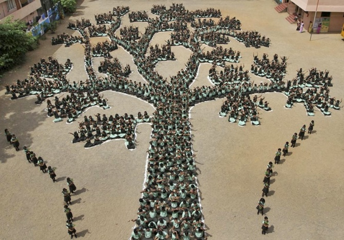 Students make a formation of a tree during a programme to create awareness to save trees and forests, in Chennai.