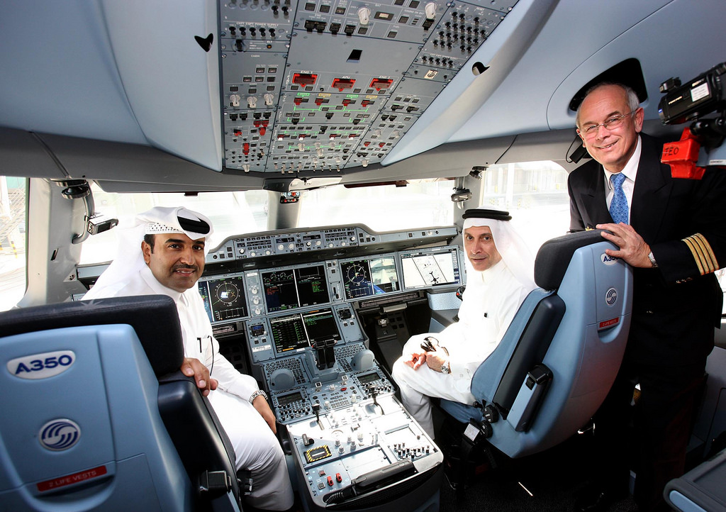 The fuel-efficient Airbus A350 XWB's first landing at Doha