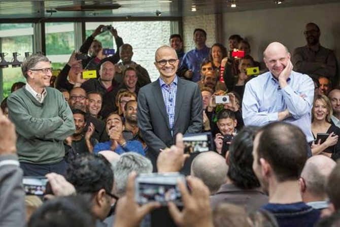 (From left) Bill Gates with Satya Nadella (centre) and the former CEO Steve Ballmer.