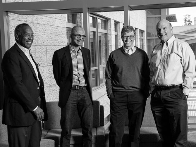 (L to R) John Thompson (Chairman),Satya Nadella (CEO), Bill Gates (Founder & Technology Advisor) and Steve Ballmer (Former CEO) at at Microsoft HQ - in Redmond, WA, United States.
