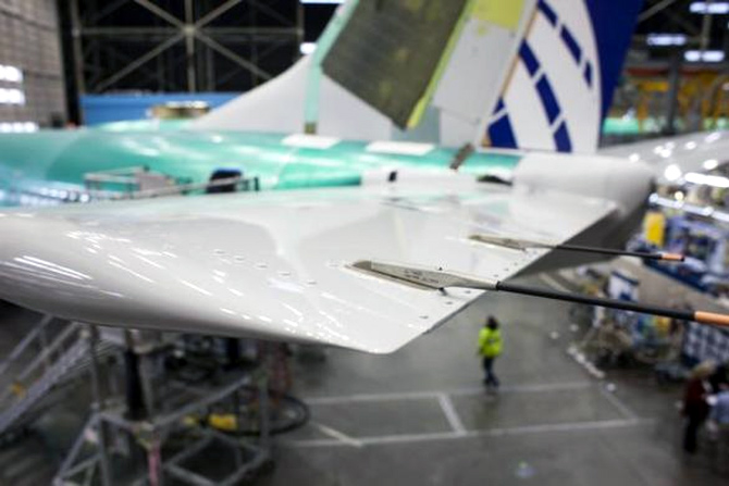 he horizontal stabilizer of a Boeing 737 jetliner is pictured during a tour of the Boeing 737 assembly plant in Renton.