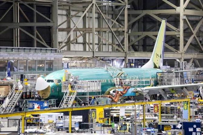 Boeing 737 jetliner is pictured during a tour of the Boeing 737 assembly plant in Renton.