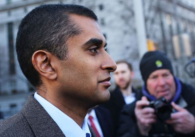 Mathew Martoma leaves Manhattan federal court following his arraignment on insider-trading charges.