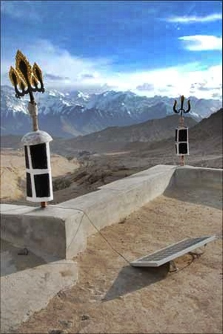 A view of a solar panel on the roof of Lamayuru Monastery in Laddakh.
