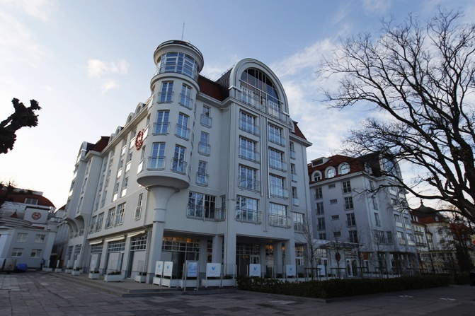 A view of the Sheraton Hotel in Sopot.