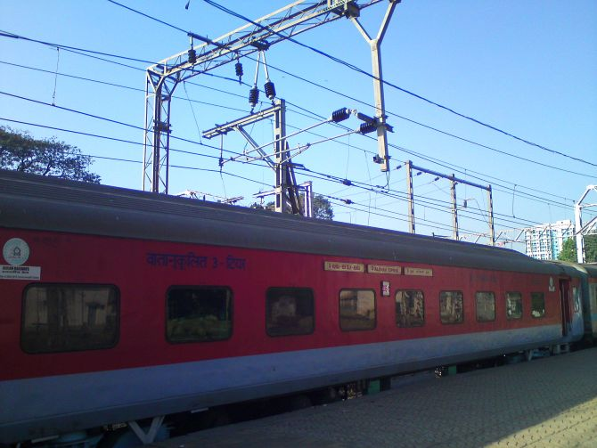 Mumbai Rajdhani at Mumbai Central.