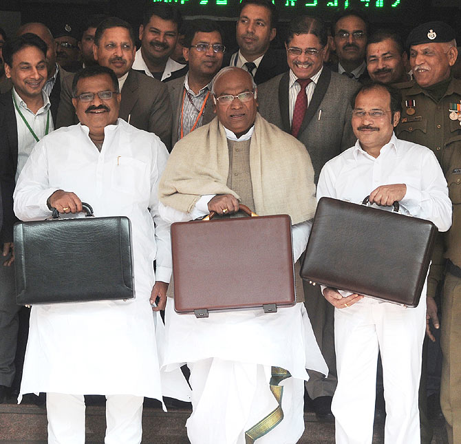 Railway Minister Mallikarjun Kharge with Ministers of State for Railways, K.J. Surya Prakash Reddy and Adhir Ranjan Chowdhury.