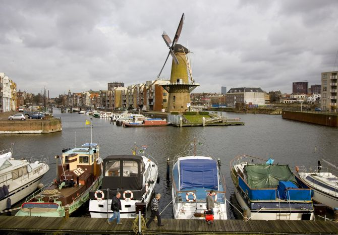 The Distilleerketel, a windmill built in 1727 and used to grind rye, can be seen at Delfshaven, an area of Rotterdam.