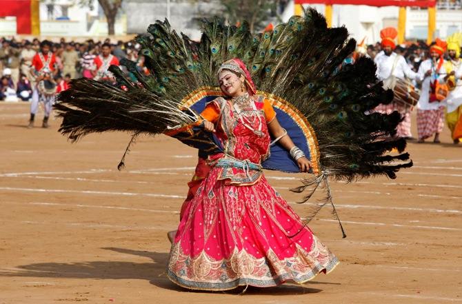 A folk dancer performs during Republic Day celebrations at Himmatnagar town, about 69 km (43 miles) east from Ahmedabad.