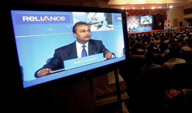 Anil Ambani, chairman of the Reliance Anil Dhirubhai Ambani Group, speaks during the annual general meeting of Reliance Capital in Mumbai.