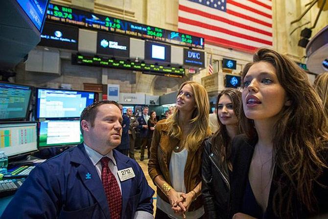 Swimsuit Models Visit New York Stock Exchange Rediff Com