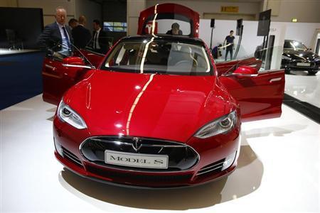 Tesla model S car at the Frankfurt Motor Show.