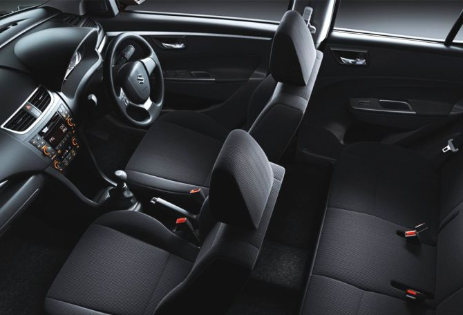 Interior of Maruti Swift Dzire.