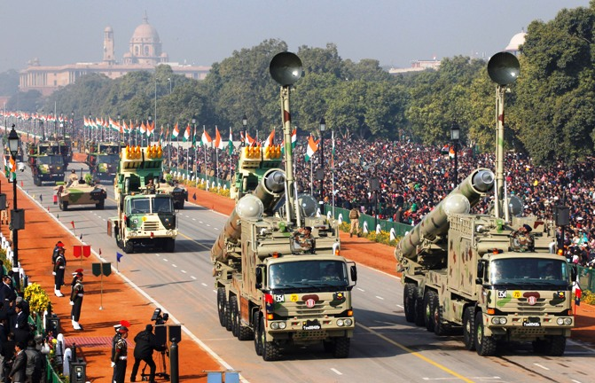 The Indian Army's BrahMos missile launchers are driven for display during the Republic Day parade in New Delhi.