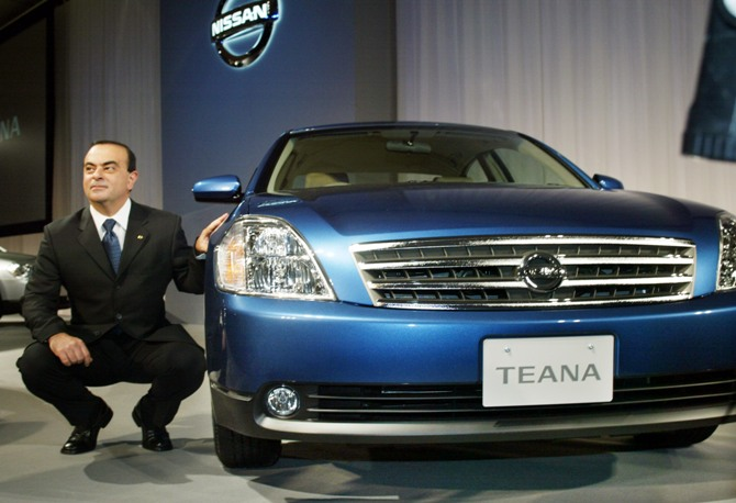 This file photograph shows Carlos Ghosn unveiling the Teana in Tokyo.