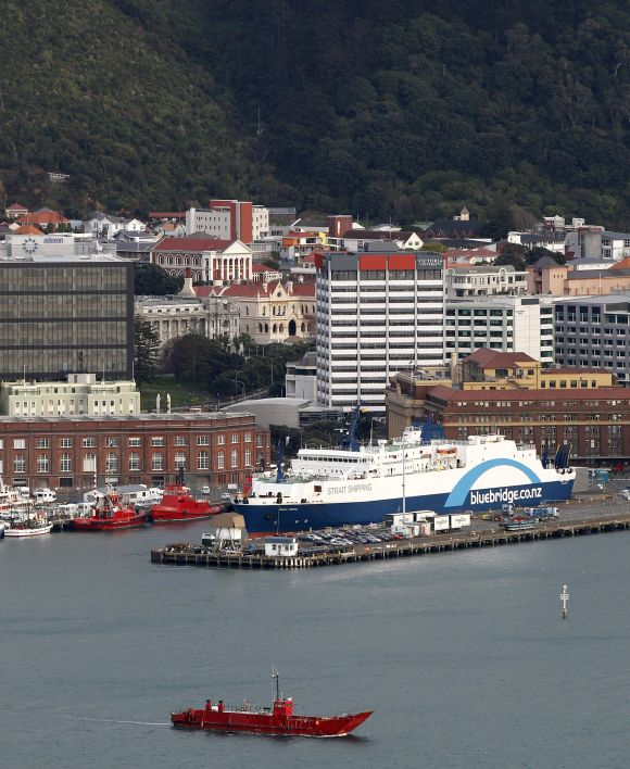 The Bluebridge Cook Strait Ferry is docked at Wellington Harbour.
