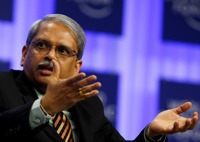 Executive Chairman of Infosys Kris Gopalakrishnan speaks during a session at the World Economic Forum in Davos January 25, 2014.