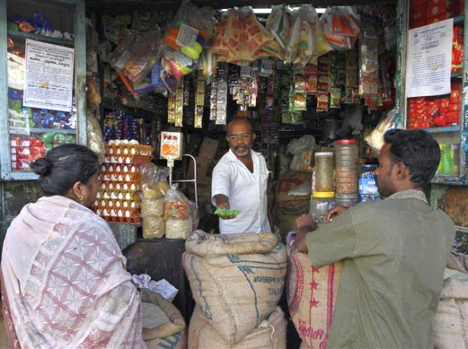 Villagers buy grocery.