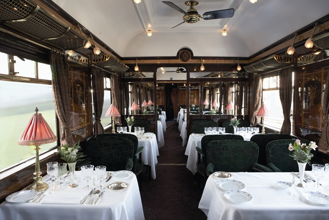 A restaurant inside the Venice Simplon-Orient-Express.
